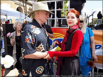 Christopher Riordan with Priscilla Presley at 20th Annual Collingwood Elvis Festival — July, 2014.