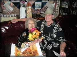 Carla Laemmle with old and dear friend, Christopher Riordan, at Carla's 102nd birthday party! - October, 2011.