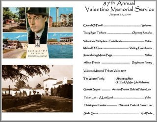 Program from the 87th Annual Memorial Service for Rudolph Valentino at The Hollywood Forever Cemetery on August 23, 2014
